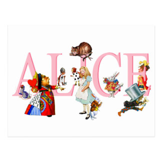 Alicia en el país de las maravillas y amigos tarjetas postales