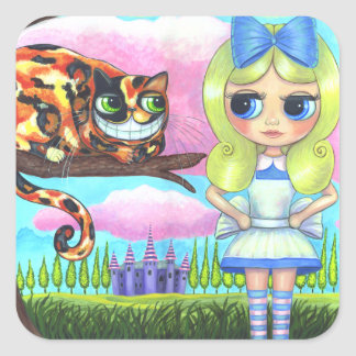 Alicia en el país de las maravillas y el gato Emo Pegatina Cuadrada