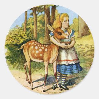 Alicia en el país de las maravillas y los ciervos etiqueta redonda
