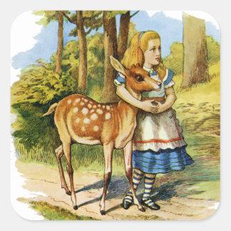 Alicia en el país de las maravillas y los ciervos colcomanias cuadradass