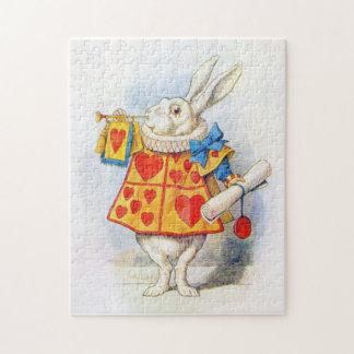 Alicia en el rompecabezas blanco del conejo del pa
