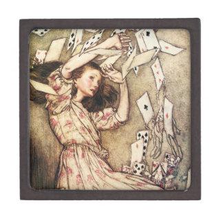 Alicia en el vuelo del país de las maravillas card cajas de recuerdo de calidad