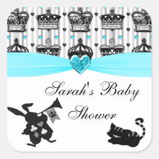 Alicia en fiesta de bienvenida al bebé real de las pegatina cuadradas personalizadas