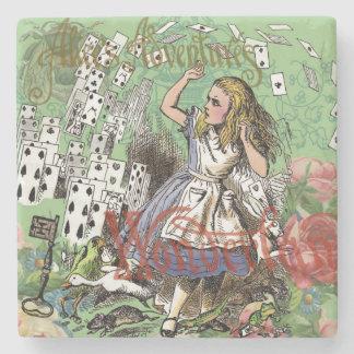 Alicia en fiesta de la tarjeta del vintage del posavasos de piedra