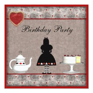 Alicia en fiesta del té del cumpleaños del país de invitación 13,3 cm x 13,3cm