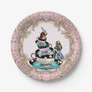 Alicia en fiesta del té del país de las maravillas plato de papel de 7 pulgadas