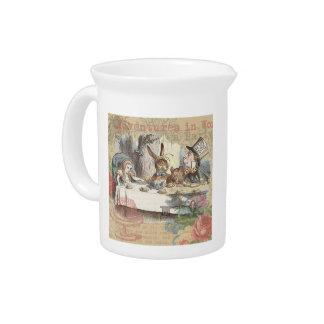 Alicia en fiesta del té enojada del país de las ma jarras para bebida