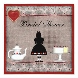 Alicia en fiesta del té nupcial de la ducha del invitación 13,3 cm x 13,3cm