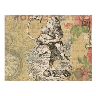 Alicia en flamenco del país de las maravillas tarjeta postal