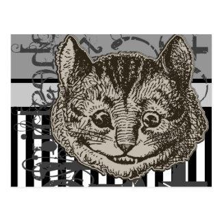 Alicia en Grunge del gato de Cheshire del país de  Postales