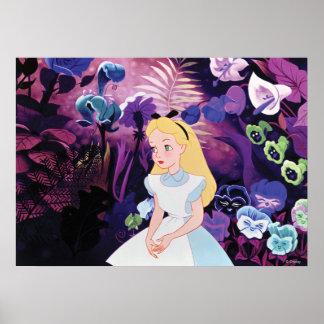 Alicia en jardín del país de las maravillas póster