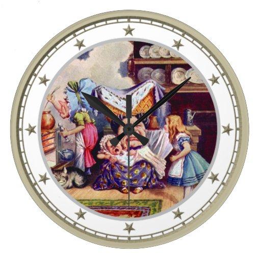 Alicia en Kitchen de las duquesas en el país de la Reloj Redondo Grande