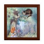 Alicia en la caja de regalo del gato de Cheshire d Joyero Cuadrado Grande