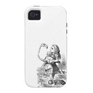 Alicia en la impresión del vintage del croquet del iPhone 4 fundas