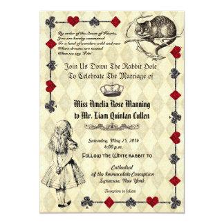 Alicia en la invitación del boda del país de las