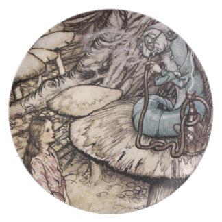 Alicia en la placa de Caterpillar del país de las  Plato