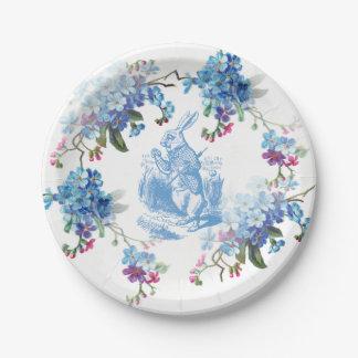 Alicia en la placa de papel del conejo blanco azul plato de papel de 7 pulgadas