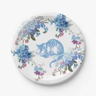 Alicia en la placa de papel del gato azul de plato de papel de 7 pulgadas