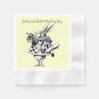 Alicia en la servilleta blanca del boda del conejo servilletas desechables
