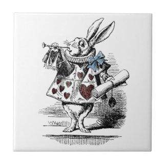 Alicia en la teja blanca del regalo del conejo del