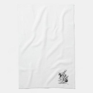 Alicia en la toalla de cocina blanca del conejo de