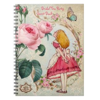 Alicia en libro de visitas nupcial de la ducha del notebook