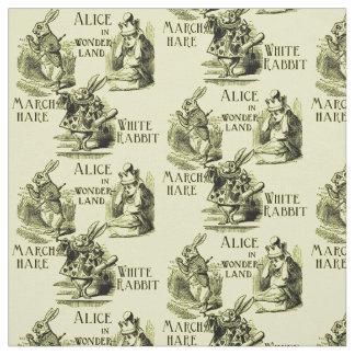 Alicia en materia textil del amarillo del país de telas