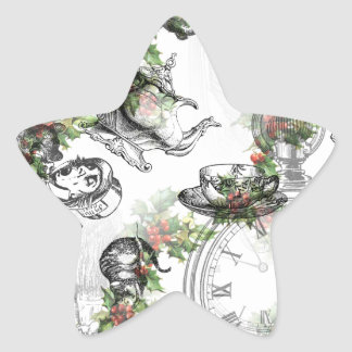 Alicia en navidad del acebo del país de las pegatina en forma de estrella