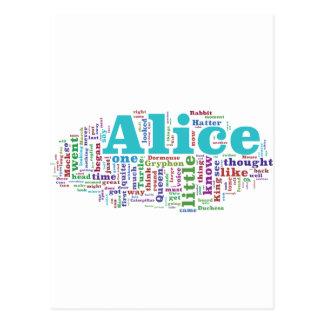 Alicia en nube de la palabra del país de las postal