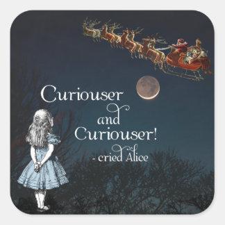 Alicia en pegatinas más curiosos del navidad del pegatina cuadrada