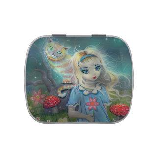Alicia en pequeña lata del caramelo del país de la frascos de dulces