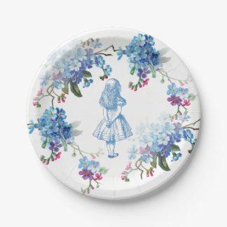 Alicia en placa de papel floral azul del país de plato de papel de 7 pulgadas