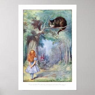Alicia en poster de la impresión del gato de Chesh