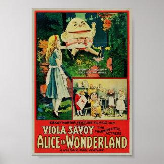 Alicia en poster raro del país de las maravillas