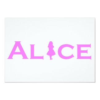 Alicia en rosa del juego de palabra del país de invitación 12,7 x 17,8 cm