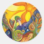 Alicia en sueño de hadas de la sol de la fantasía etiquetas redondas