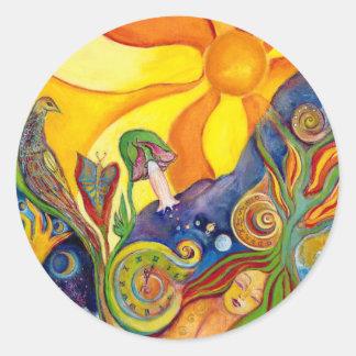Alicia en sueño de hadas de la sol de la fantasía pegatina redonda