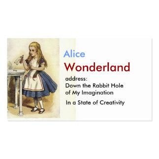 Alicia en tarjeta de visita del país de las maravi