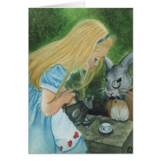 Alicia en tarjeta del país de las maravillas