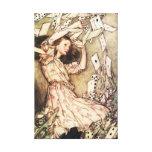 Alicia en tarjetas del vuelo del país de las marav impresiones en lienzo estiradas