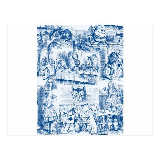 Alicia en trabajos azules y blancos del país de postal