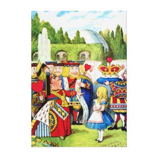 Alicia encuentra a la reina de corazones en el paí impresión de lienzo