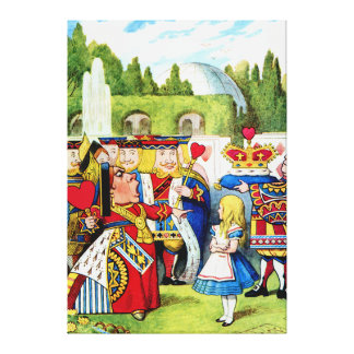 Alicia encuentra a la reina de corazones en el paí lienzo envuelto para galerias