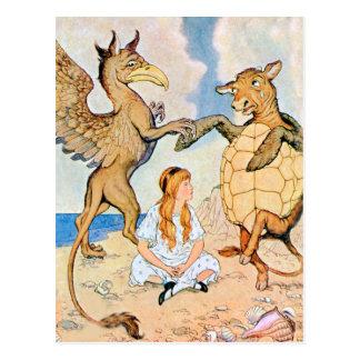 Alicia escucha el grifo y la tortuga falsa tarjetas postales