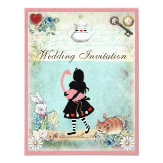 """Alicia, flamenco rosado y boda del gato de invitación 4.25"""" x 5.5"""""""