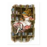Alicia flota abajo de la madriguera de conejo postal