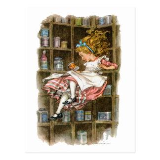 Alicia flota abajo de la madriguera de conejo tarjetas postales