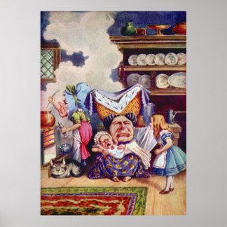 Alicia, la duquesa y el bebé del cerdo en la cocin posters