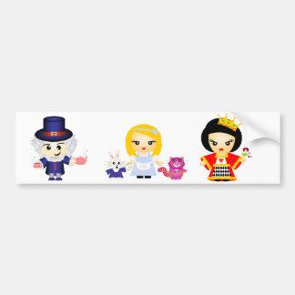 Alicia, la reina y el sombrerero enojado etiqueta de parachoque