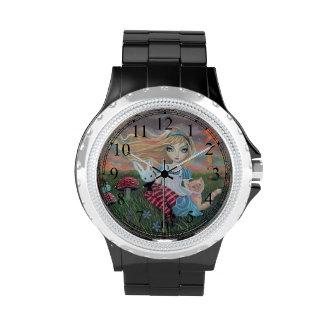 Alicia linda en arte de la fantasía del país de reloj